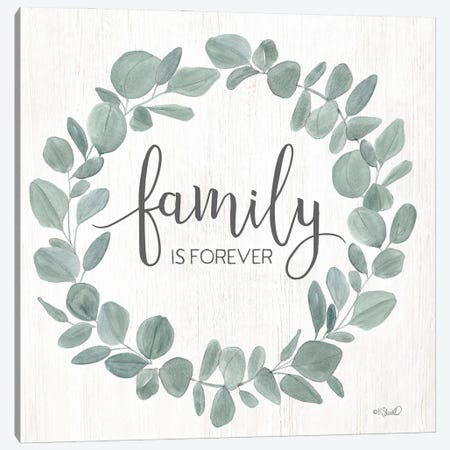 Family Forever Eucalyptus Wreath Canvas Print #SRL38} by Kate Sherrill Canvas Wall Art
