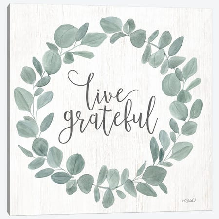 Live Grateful Eucalyptus Wreath Canvas Print #SRL42} by Kate Sherrill Canvas Print