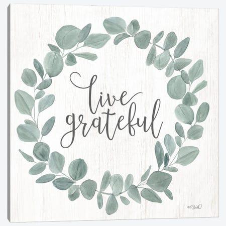 Live Grateful Eucalyptus Wreath Canvas Print #SRL42} by Kate Sherrill Canvas Print