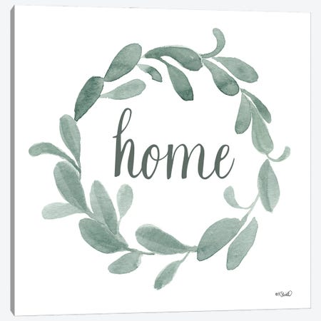 Welcome Home Wreath Canvas Print #SRL46} by Kate Sherrill Canvas Wall Art
