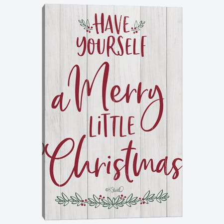 Merry Little Christmas Canvas Print #SRL61} by Kate Sherrill Art Print