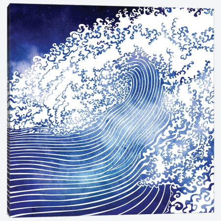 Mediterranean Waves Canvas Print #SRN8} by sirenarts Canvas Wall Art