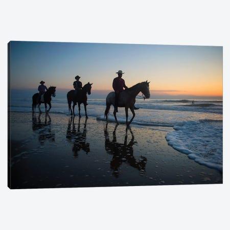 Cowboys On Virginia Beach At Sunrise Canvas Print #SRR276} by Joel Sartore Canvas Artwork