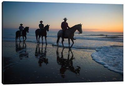 Cowboys On Virginia Beach At Sunrise Canvas Art Print