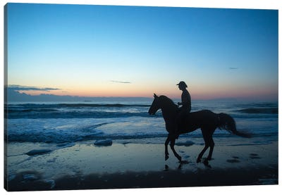 A Cowboy On Virginia Beach At Sunrise Canvas Art Print