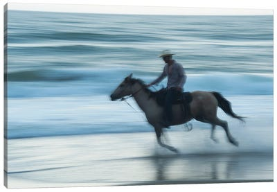 A Cowboy Rides A Horse On Virginia Beach, Virginia Canvas Art Print