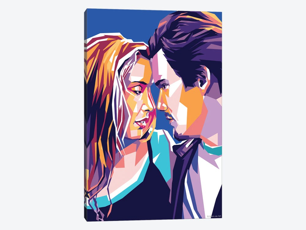 Ethan Hawke and Julie Delpy In ''Before Sunrise'' by Stars On Art 1-piece Canvas Art Print