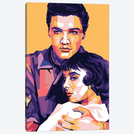 Elvis Presley - Carolyn Jones - King Creole 1958 Canvas Print #SRT38} by Stars On Art Canvas Artwork