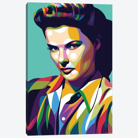 Katharine Hepburn - Serious 3-Piece Canvas #SRT68} by Stars On Art Canvas Art Print
