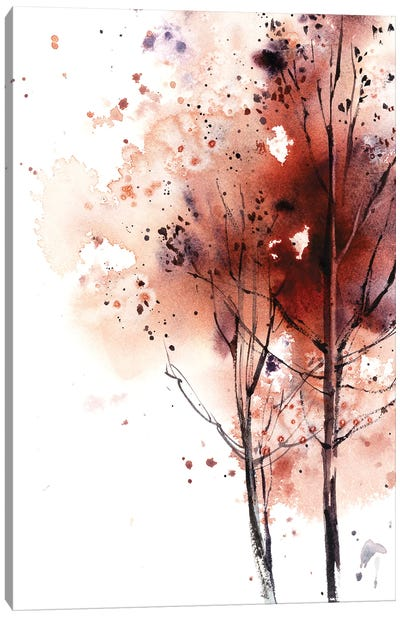 Autumn Trees In Brick Red I Canvas Art Print