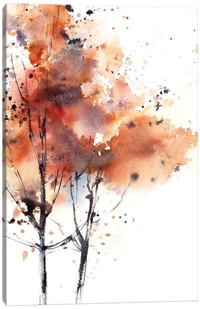 Autumn Trees In Brick Red II Canvas Art Print