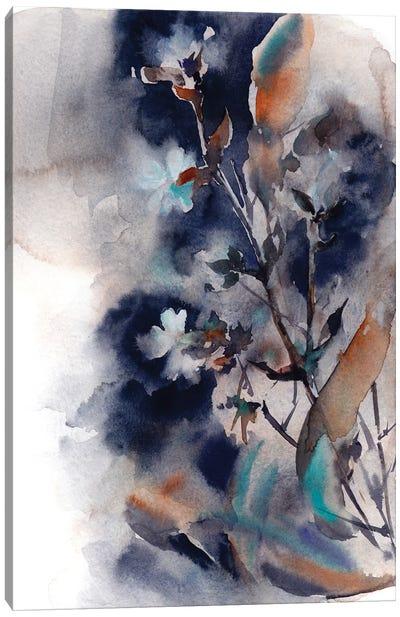 Abstract Florals In Dark Blue II Canvas Art Print