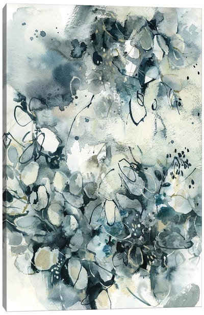 Abstract Botanical In Teal Canvas Art Print