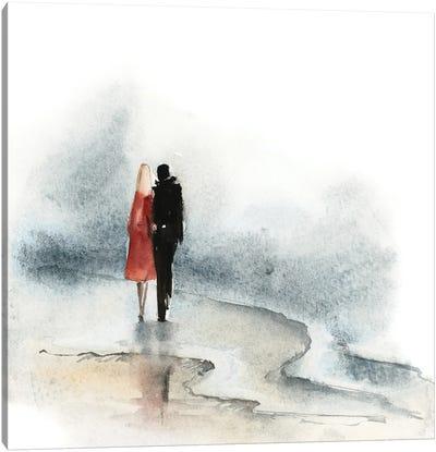 Beach Walk - Love Story Canvas Art Print