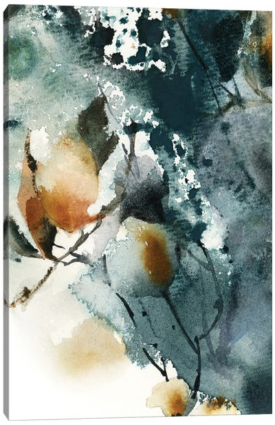 Abstract Botanical In Teal And Amber I Canvas Art Print