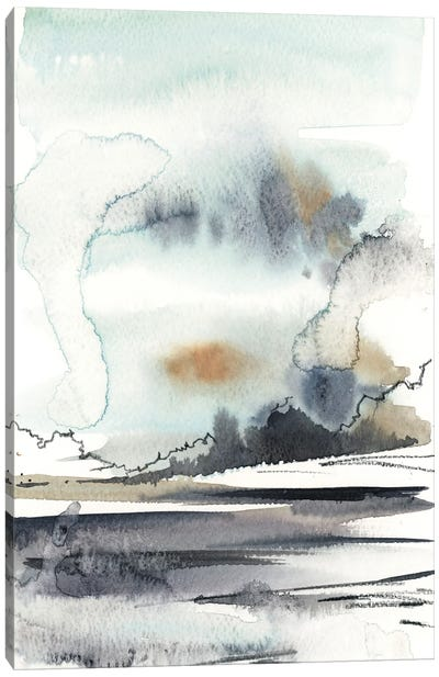 Abstract Landscape In Grey And Light Blue Canvas Art Print