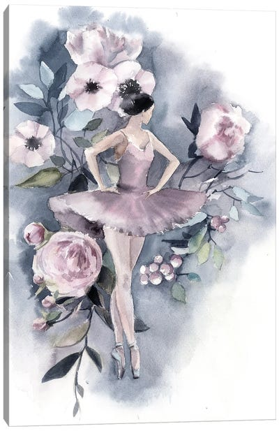 Ballerina And Flowers I Canvas Art Print