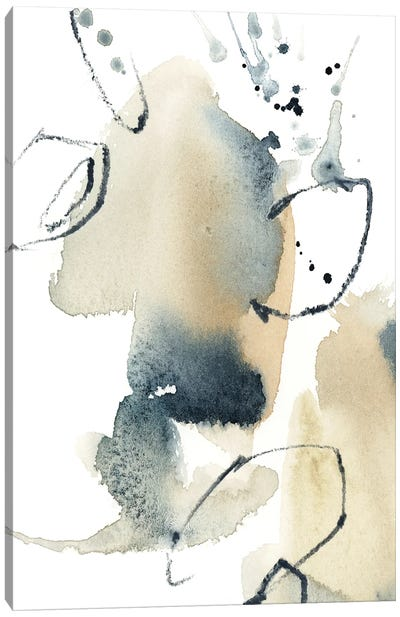 Abstract In Blue Grey And Tan I Canvas Art Print