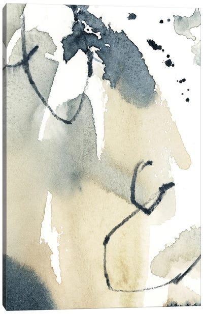 Abstract In Blue Grey And Tan II Canvas Art Print