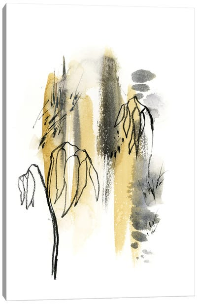 Abstract In Mustard Yellow And Grey Green II Canvas Art Print