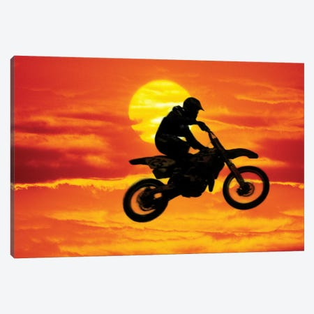 A Jumping Motocross Racer In Front Of The Sun Canvas Print #SSA1} by Steve Satushek Canvas Wall Art