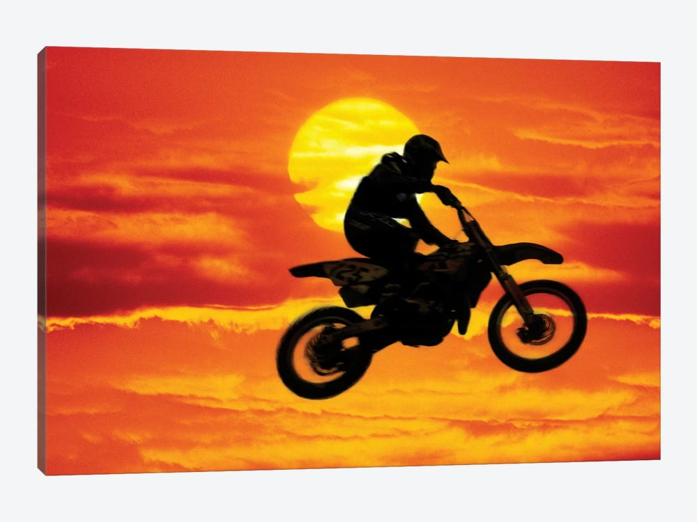 A Jumping Motocross Racer In Front Of The Sun by Steve Satushek 1-piece Canvas Art