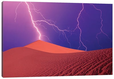 Lightning Bolts In A Purple Sky, Death Valley National Park, California, USA Canvas Art Print