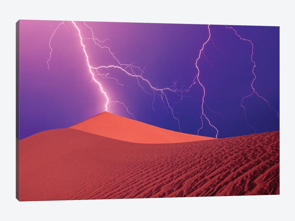 Lightning Bolts In A Purple Sky, Death Valley National Park, California, USA by Steve Satushek 1-piece Canvas Print