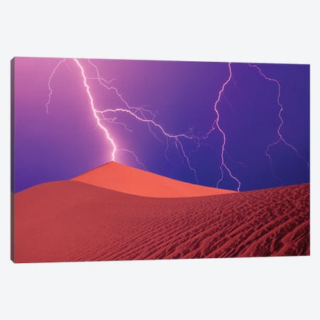 Lightning Bolts In A Purple Sky, Death Valley National Park, California, USA Canvas Print #SSA2} by Steve Satushek Canvas Artwork