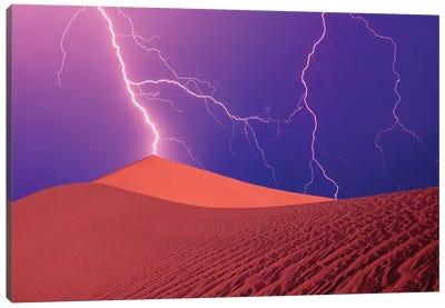 Lightning Bolts In A Purple Sky, Death Valley National Park, California, USA Canvas Art Print