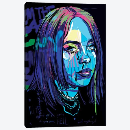 Billie Eilish Canvas Print #SSD4} by Only Steph Creations Canvas Wall Art