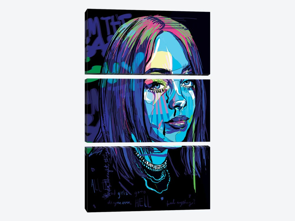 Billie Eilish by Only Steph Creations 3-piece Canvas Wall Art