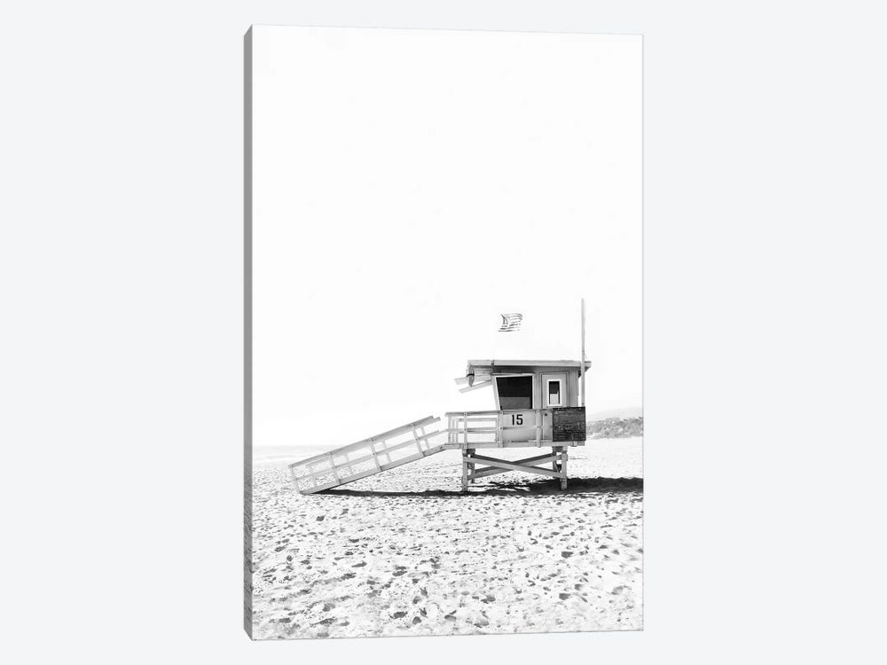 Lifeguard Hut In Black & White by Sisi & Seb 1-piece Canvas Artwork