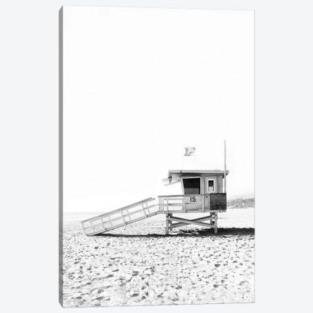 Lifeguard Hut In Black & White Canvas Print #SSE108} by Sisi & Seb Canvas Print