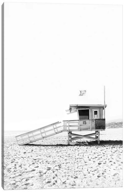 Lifeguard Hut In Black & White Canvas Art Print