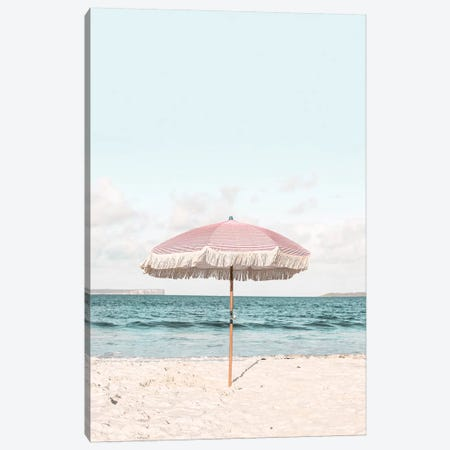 Pink Umbrella Canvas Print #SSE174} by Sisi & Seb Canvas Print