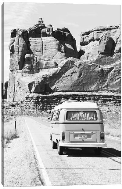Road Trip In Black & White Canvas Art Print