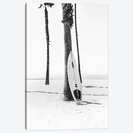 Surf Board In Black & White Canvas Print #SSE197} by Sisi & Seb Canvas Art Print
