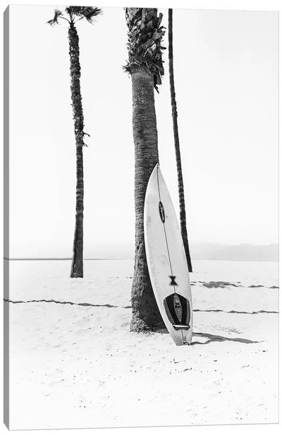 Surf Board In Black & White Canvas Art Print