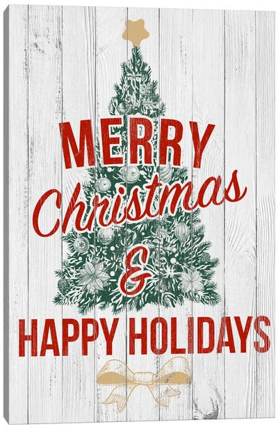 Merry Christmas & Happy Holidays Canvas Art Print