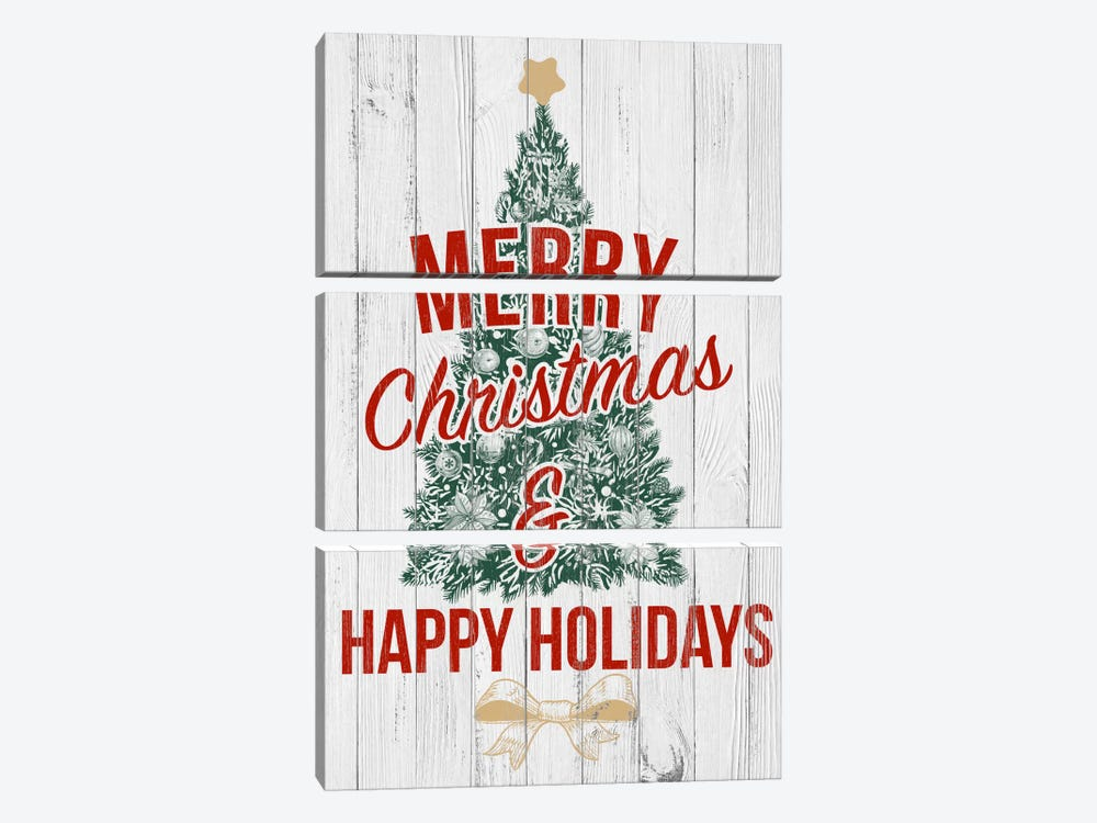 Merry Christmas & Happy Holidays by 5by5collective 3-piece Art Print