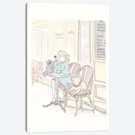 Paris Cafe Fashion, Frenchie and Black Cat Canvas Print #SSH100} by Shell Sherree Canvas Artwork