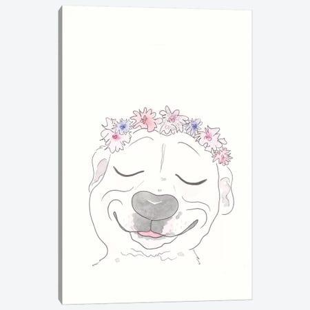 Pitbull Smiles and Flowers Canvas Print #SSH101} by Shell Sherree Canvas Wall Art