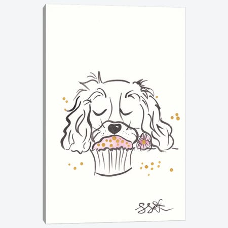 Sweet Spaniel and Pink Cupcake Canvas Print #SSH104} by Shell Sherree Canvas Print