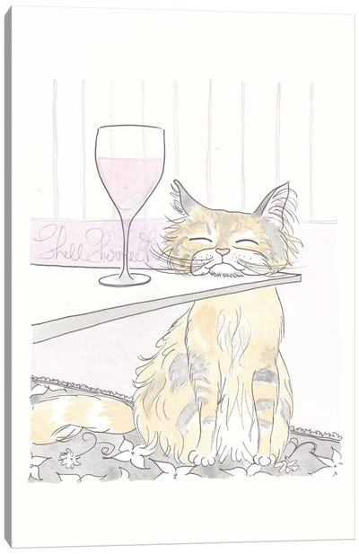 Tabby Cat and Wine Time Canvas Art Print
