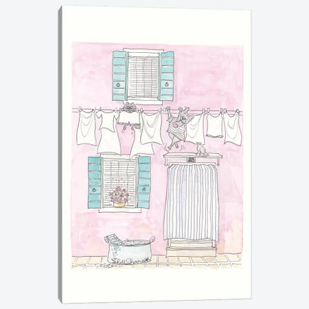 Venice Washing Day Adventures Canvas Print #SSH106} by Shell Sherree Canvas Art Print