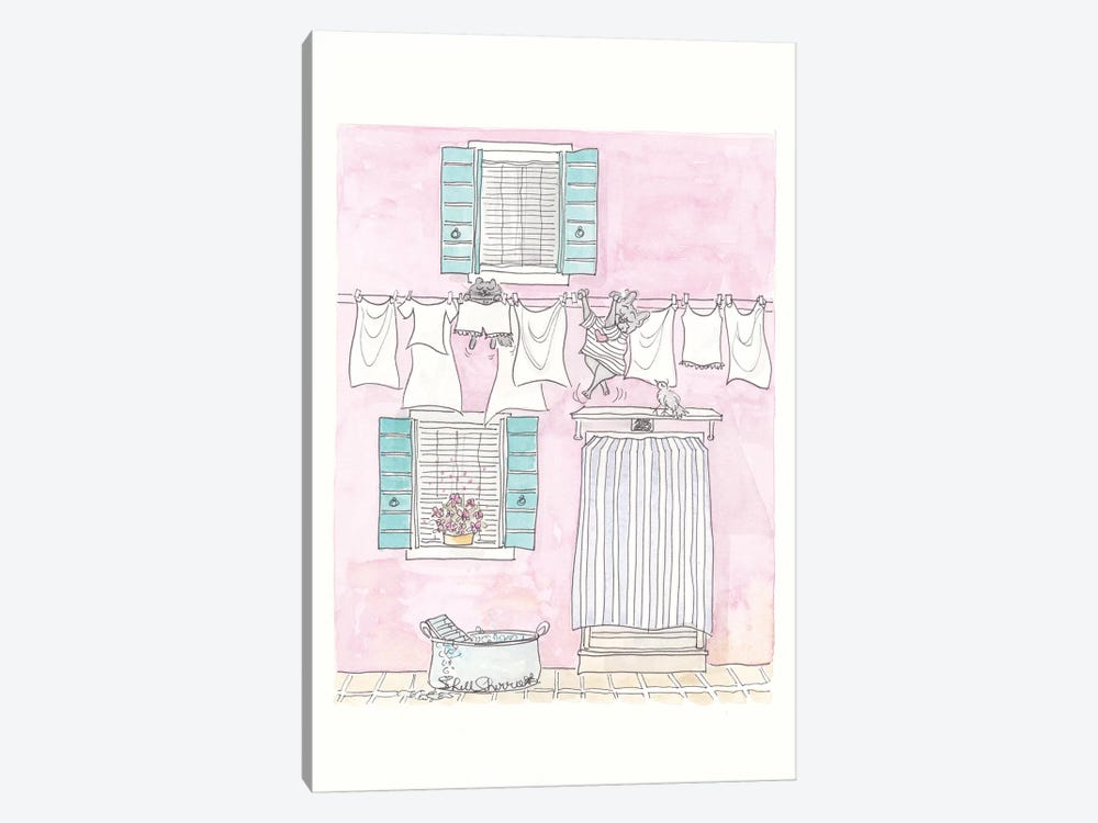Venice Washing Day Adventures by Shell Sherree 1-piece Canvas Print