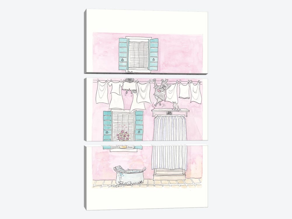 Venice Washing Day Adventures by Shell Sherree 3-piece Art Print