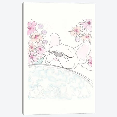 White Frenchie Peeking Canvas Print #SSH107} by Shell Sherree Canvas Art Print