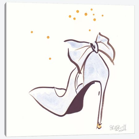 Blue Stiletto Shoe Fancy Bow Canvas Print #SSH112} by Shell Sherree Art Print